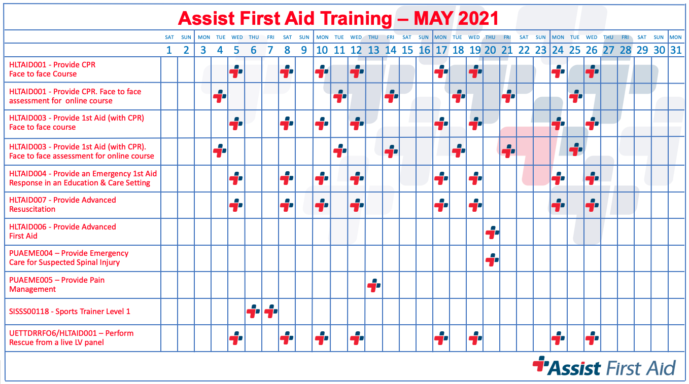 Assist First Aid Course Calendar for May